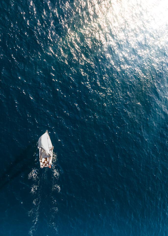 sailing photo, Aerial Boat Print, Sailing photo, Ocean print, coastal wall art, Los Angeles, Santa Monica, California, Large Beach photo