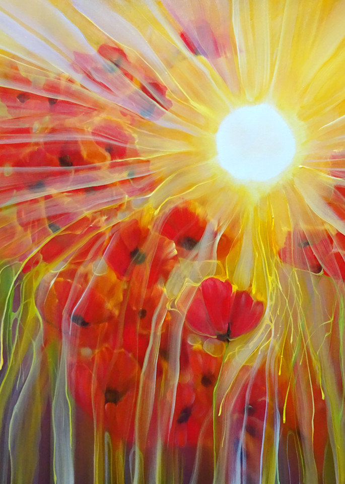 wall prints of sun and poppies