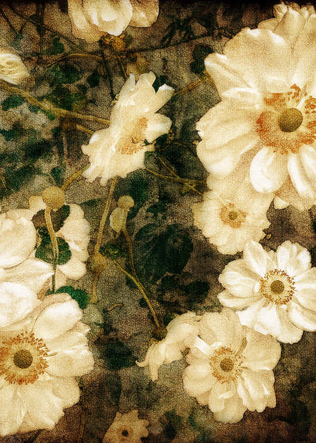 White Floral Tapestry