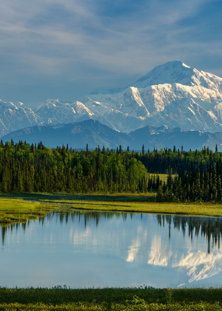 Summer landscape of the southside view of Denali (aka Mt. Mckinley) and the Alaska Range in the early morning hours of summer. Reflection in lake.  Southcentral, Alaska  Photo by Jeff Schultz/SchultzPhoto.com  (C) 2016  ALL RIGHTS RESVERVED