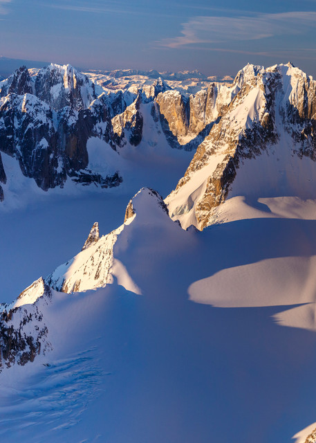 Spring landscape aerial photo of Cathedral Spires in the Kichatna Mountains, a part of the Alaska Range.  June 2017  Photo by Jeff Schultz/SchultzPhoto.com  (C) 2017  ALL RIGHTS RESERVED
