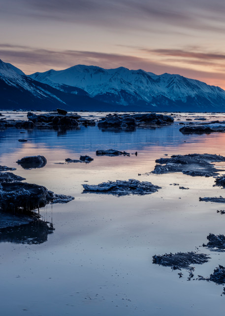 Spring Landscape of the sunset over ice bergs and the waters of Turnagain Arm with the Kenai Mountains in the background south of Anchorage.    Photo by Jeff Schultz/  (C) 2020  ALL RIGHTS RESERVED