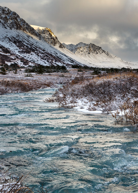 Winter landscape of South Fork of Campbell creek with frozen portions with Chugach Mountains in Chugach State Park. Glenn Alps area of Anchorage, Alaska     Photo by Jeff Schultz/SchultzPhoto.com  (C) 2016  ALL RIGHTS RESVERVED