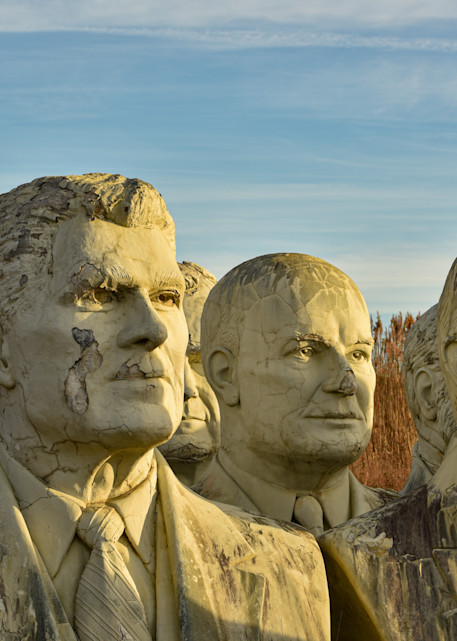 Grouping of presidential statues in the sunset