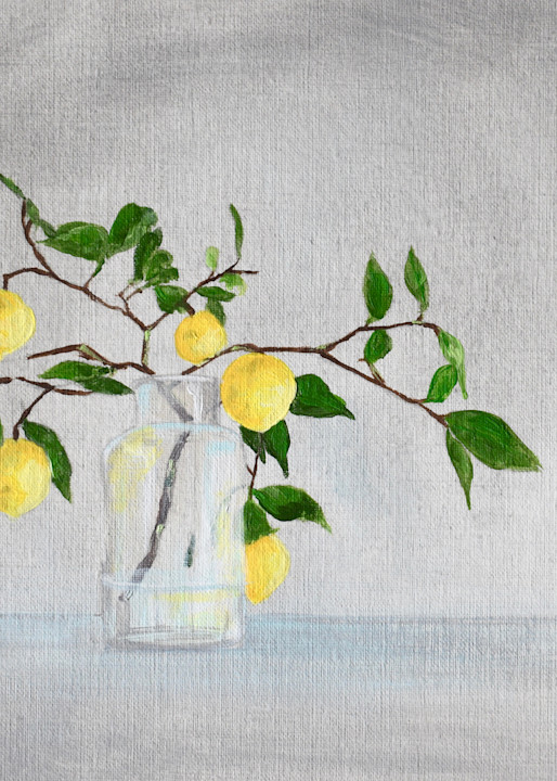 Giclee Art Print -Lemon Branches in a Vase I - by April Moffatt