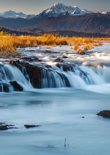 Fall Landscape of waterfalls with Alaska Range background Alaska -- Drift rvr