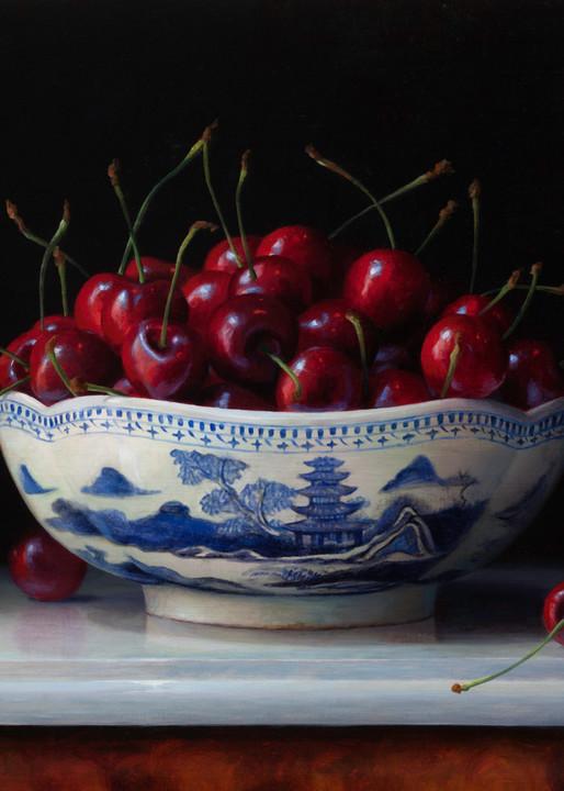 Cherries In Canton Bowl Art | Romanova Art