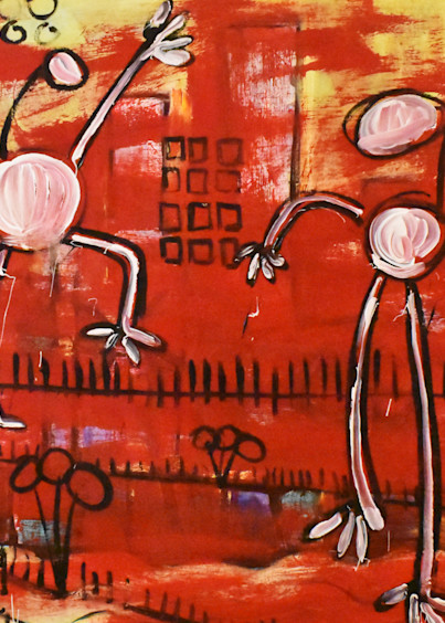Bright red abstract figure painting