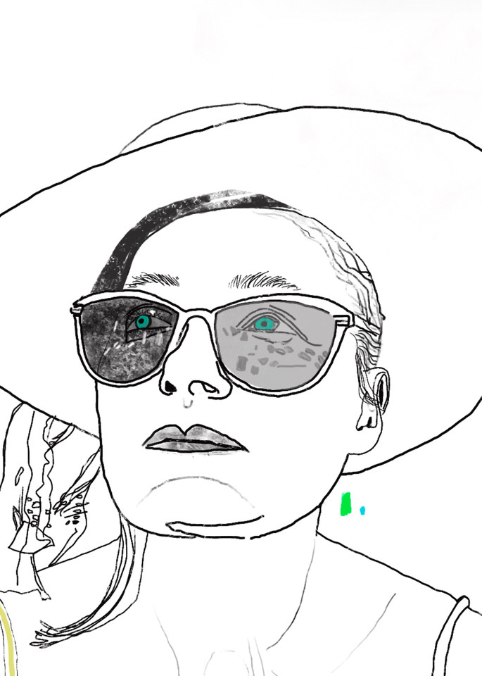 Glasses Eyes Green Woman Face Hat Drawing