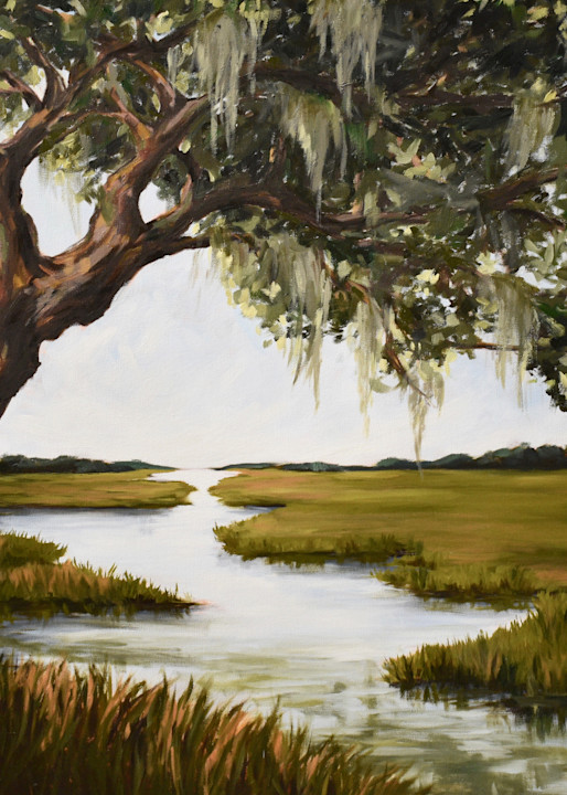 Giclee Art print- Oak Tree over the Coastal Marsh