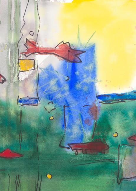 Red Fishies Swim In Primordial Soup Art | Elaine Schaefer Hudson Art