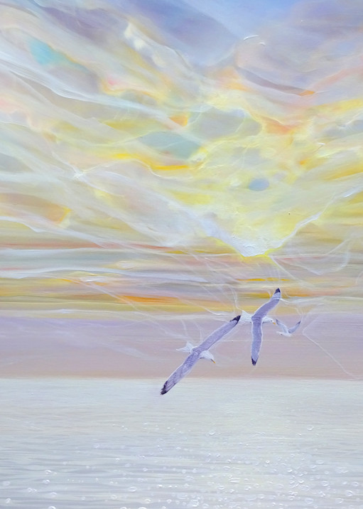prints on canvas or paper of sea, seagulls and and sky at Seaford in Sussex