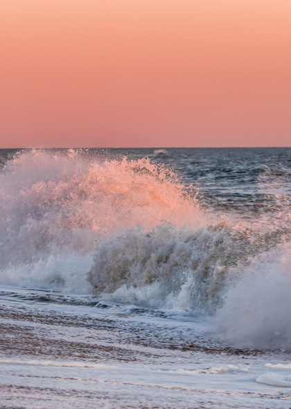 South Beach Winter Crashing Pink Waves Art   Michael Blanchard Inspirational Photography - Crossroads Gallery