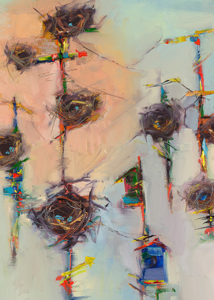 Phone Home, one of Laura McRae Hitchcock's beloved nest paintings depicts nests and bird houses on telephone poles.