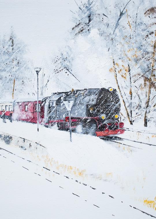 Whiteout Train Art   Drivdahl Creations