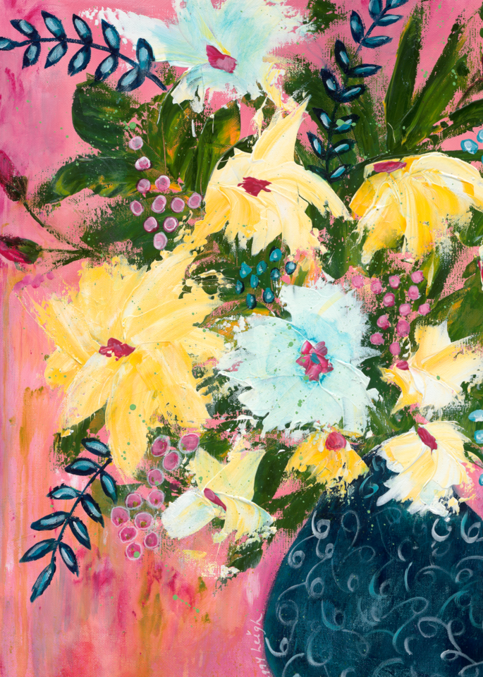 Flowers In Blue Vase Pink Background  Art | Peggy Leigh Art