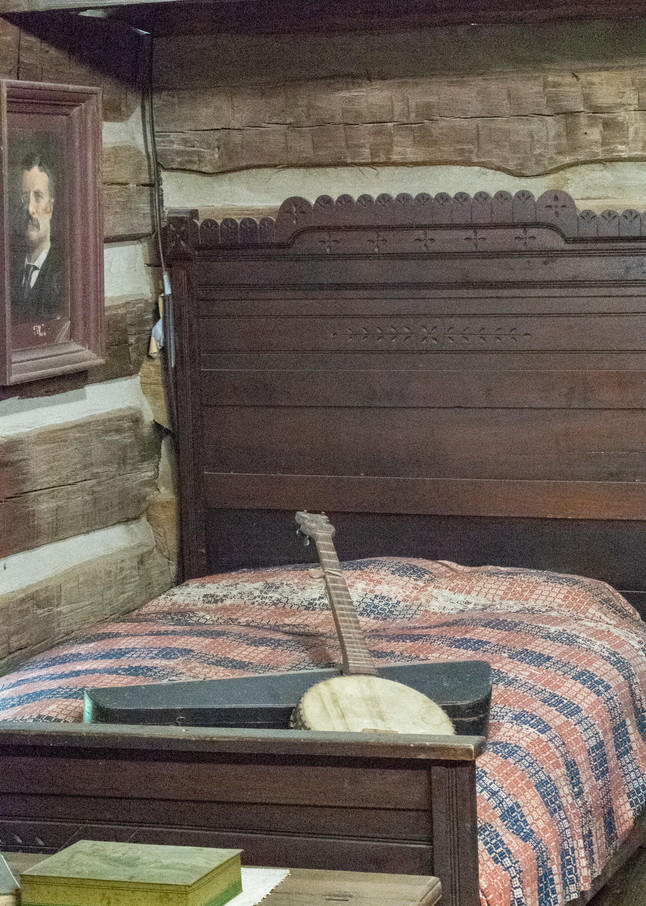 Banjo On Bed In Log Cabin Photography Art   Great Wildlife Photos, LLC