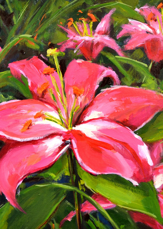 Pink Lilies Petite Print Art   Jenn Hallgren Artist