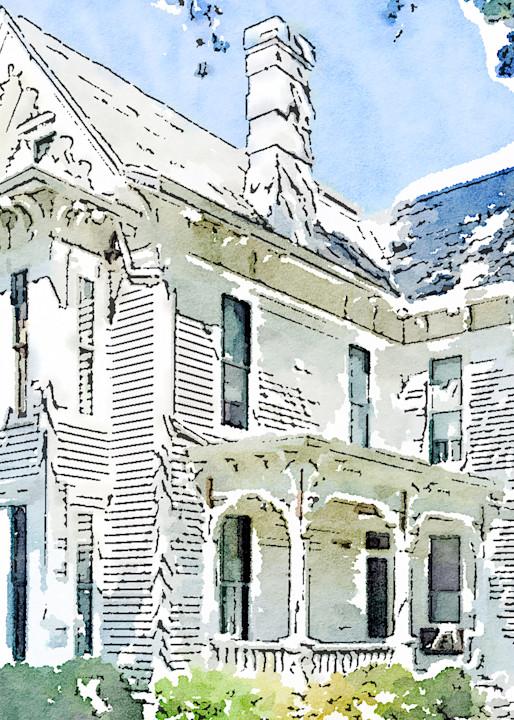 watercolor-photo, victorian-style, house, photograph, print, truman