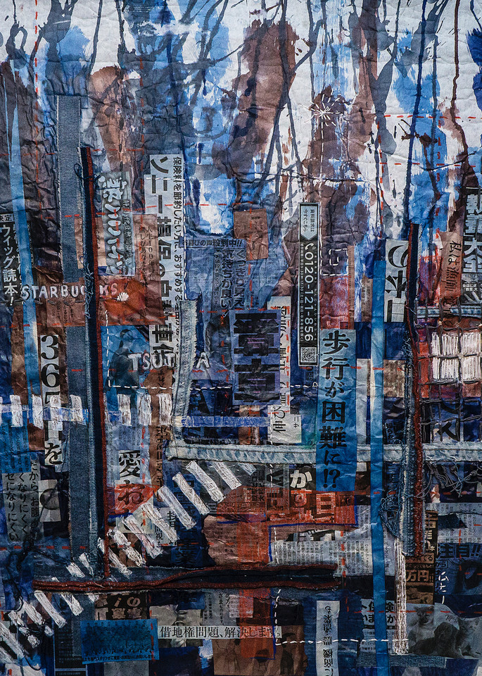 """Shibuya Crossing"""" by Muffy Clark Gill is from a series of mixed media artwork. A 2019 indigo and Shibori workshop trip to Japan provided the subject matter. Chaos, clutter, and color were feelings evoked while viewing the scenes in transit at Shibuy"""