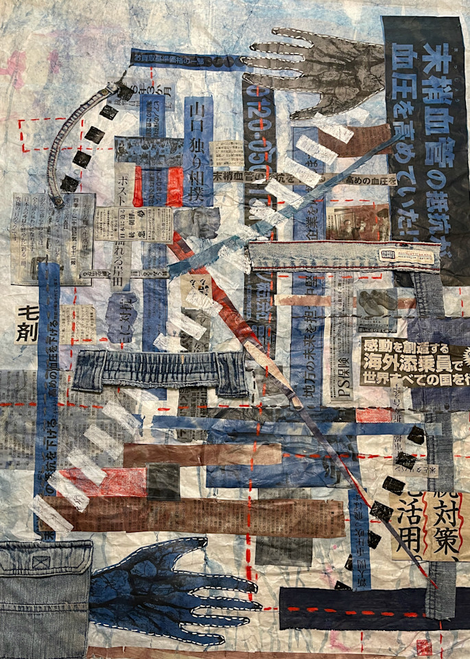"""""""Hands Down"""" by Muffy Clark Gill consists of layered collages bustling with frenetic energy in a distinctive architectural or urban setting. Geometric references to Asian culture and color choices expose societal tropes. Japanese newspaper ads provi"""
