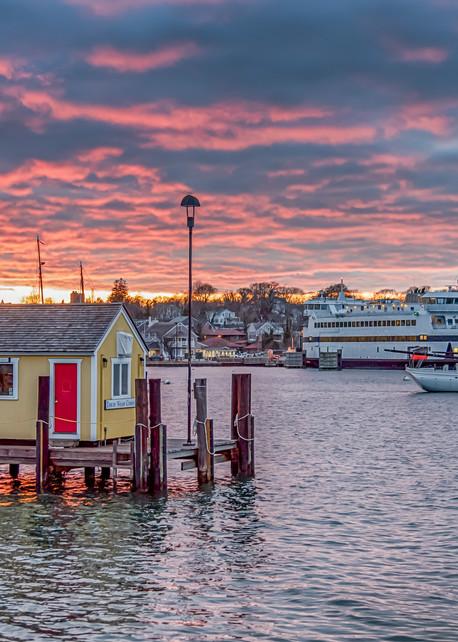 Vineyard Haven Harbor Red Sky Art   Michael Blanchard Inspirational Photography - Crossroads Gallery