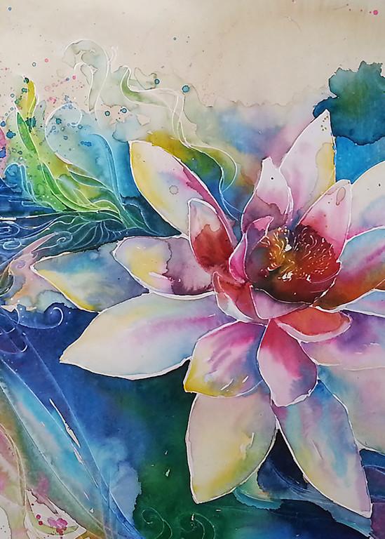 Zen Watercolor Lotus Flower Painting
