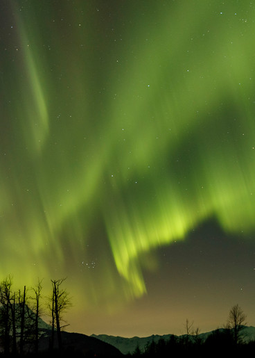 Winter landscape of Aurora Borealis (Northern Lights) light up the sky over the Chugach Mountains in Portage River Valley in Southcentral, Alaska  Photo by Jeff Schultz/  (C) 2021  ALL RIGHTS RESERVED