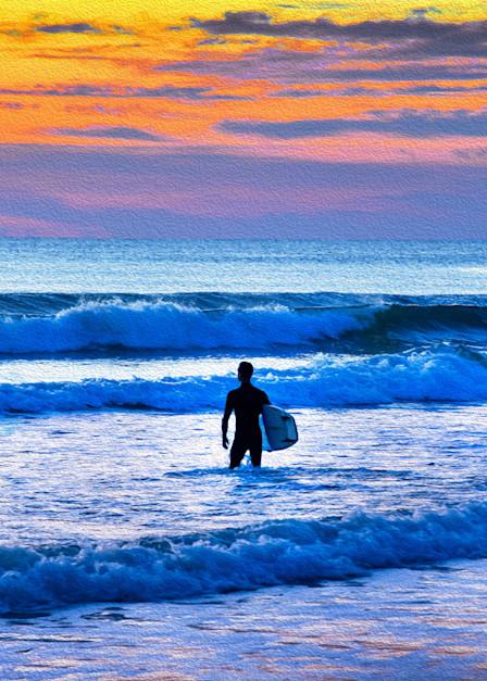 Surfer At Dawn Art | Frasier Photography