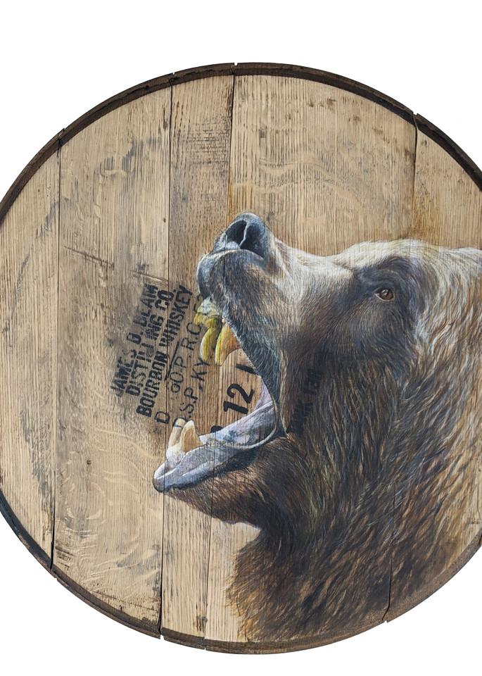 Bear Bourbon Barrel Art | Lori Vogel Studio