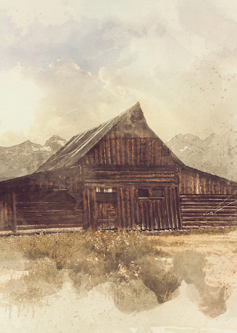 Barn With A View - Digital watercolor image of an old barn in Wyoming photograph print