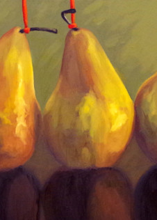 Pears With Red Strings Art   Helen Vaughn Fine Art