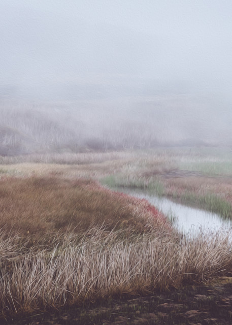 Autumn in the Country - a digital oil painting of a foggy morning in Northern California photograph print