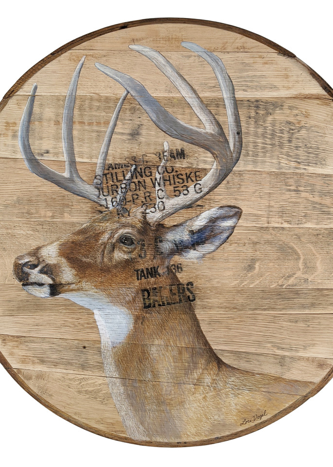 White Tailed Deer Buck Bourbon Barrel Art | Lori Vogel Studio