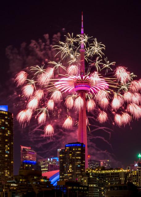 Cn Tower Toronto, With Fireworks Photography Art | Rick Vyrostko Photography