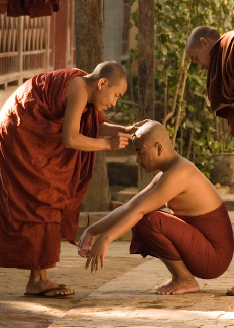 Monks Shaving Head in Mandalay, Myanmar