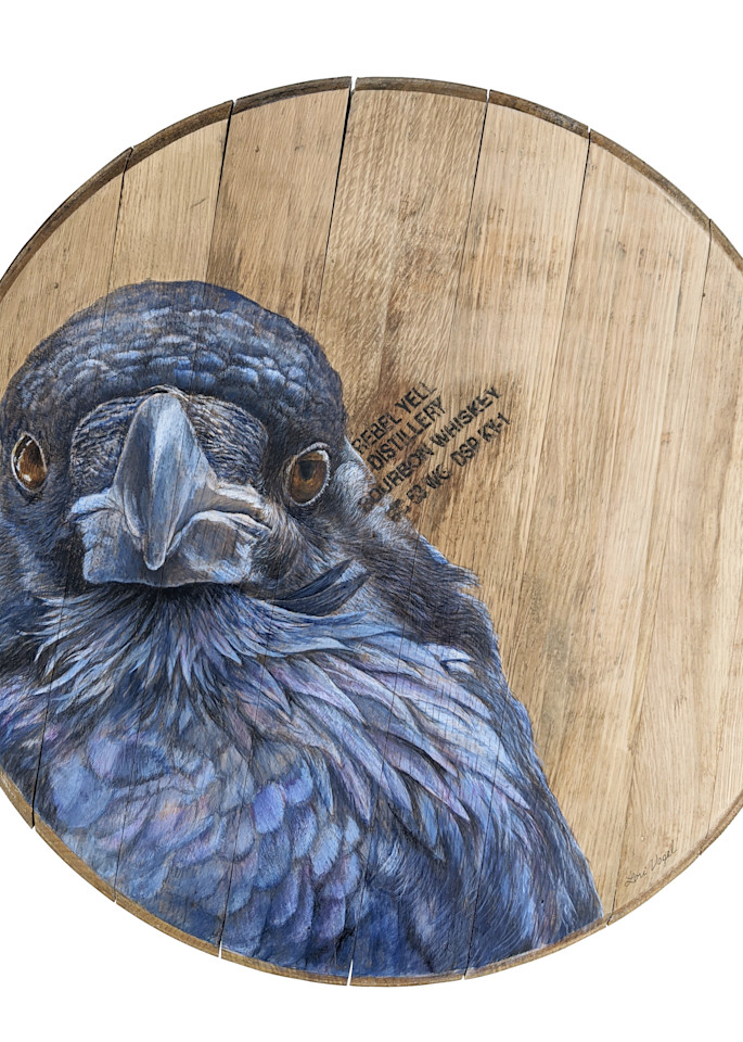 Raven Bourbon Barrel Art | Lori Vogel Studio