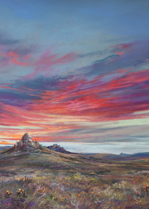 Lindy Cook Severns Art   The Earth The Sky and The Mountain Between, print