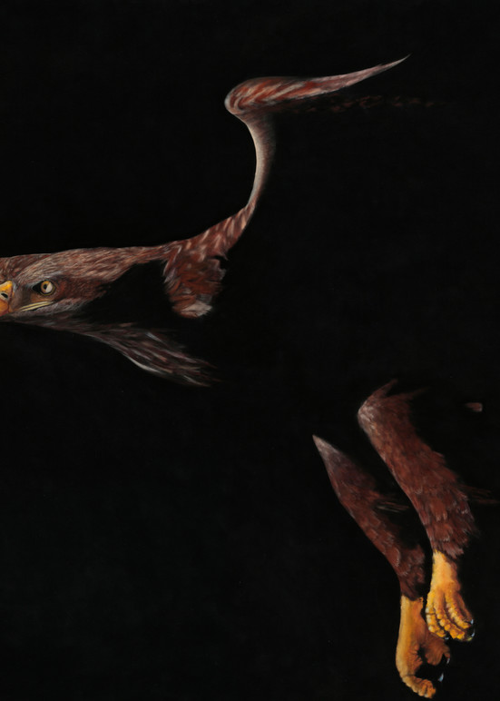 Golden eagle in flight titled On Eagle's Wings Exodus 19:4 by Nancy Conant