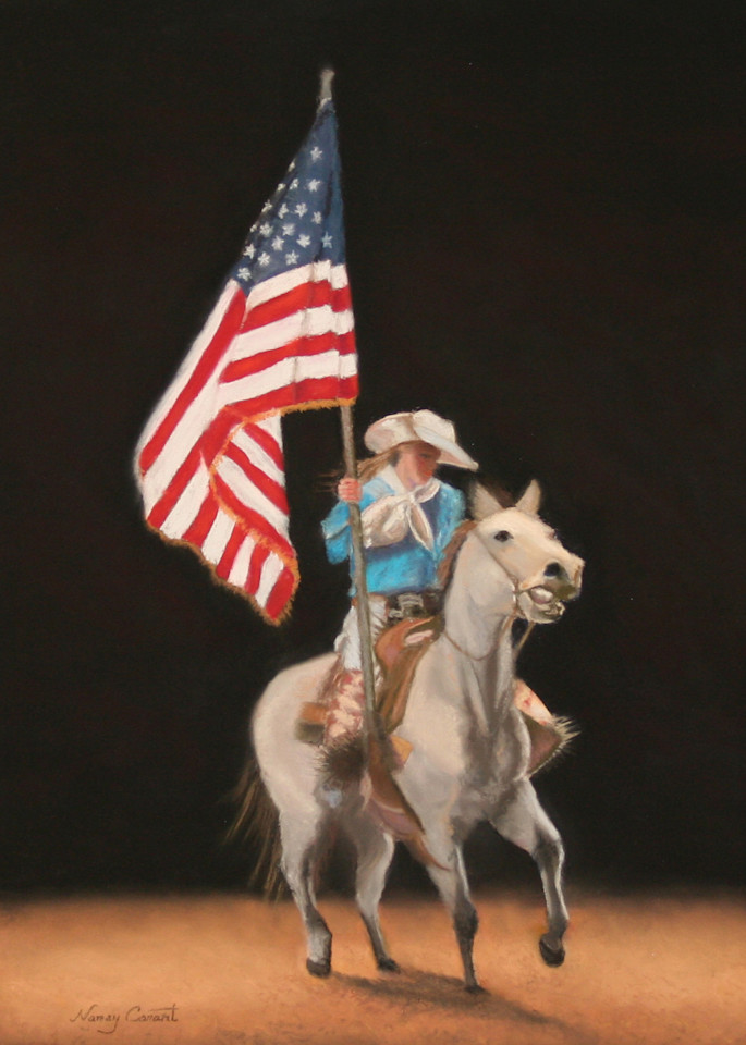 Painting of a horse and American flag God Bless the USA by Nancy Conant