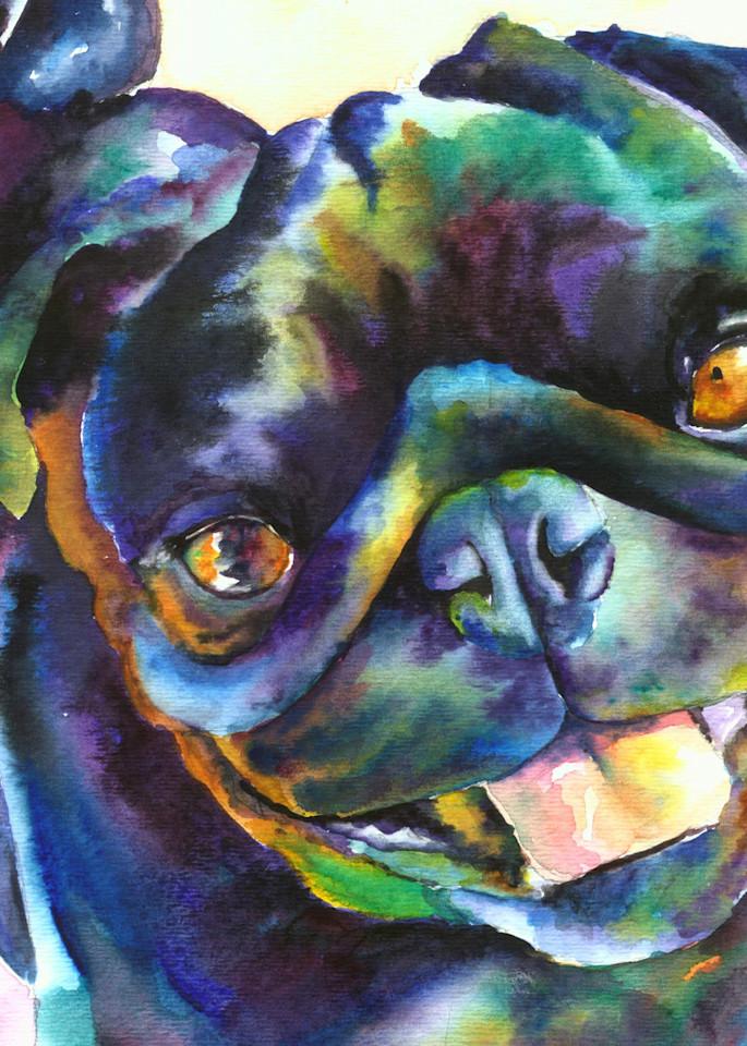 Black pug watercolor art print