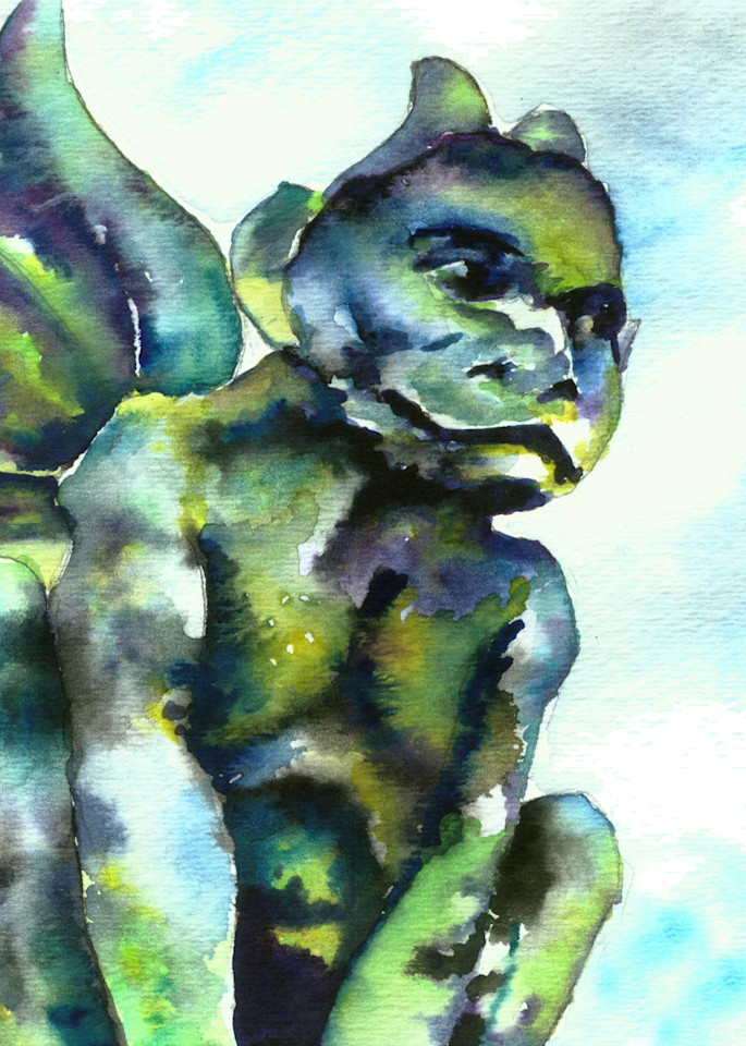 Gargoyle Watercolor Painting