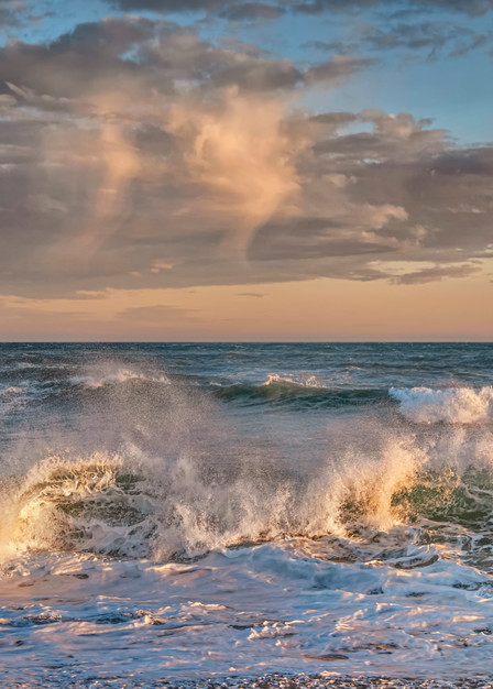 South Beach Clouds And Crashing Waves Art   Michael Blanchard Inspirational Photography - Crossroads Gallery