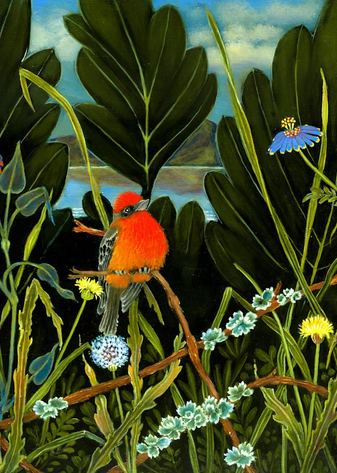 Red Bird Of Lake Chapala Art   miaprattfineart.com