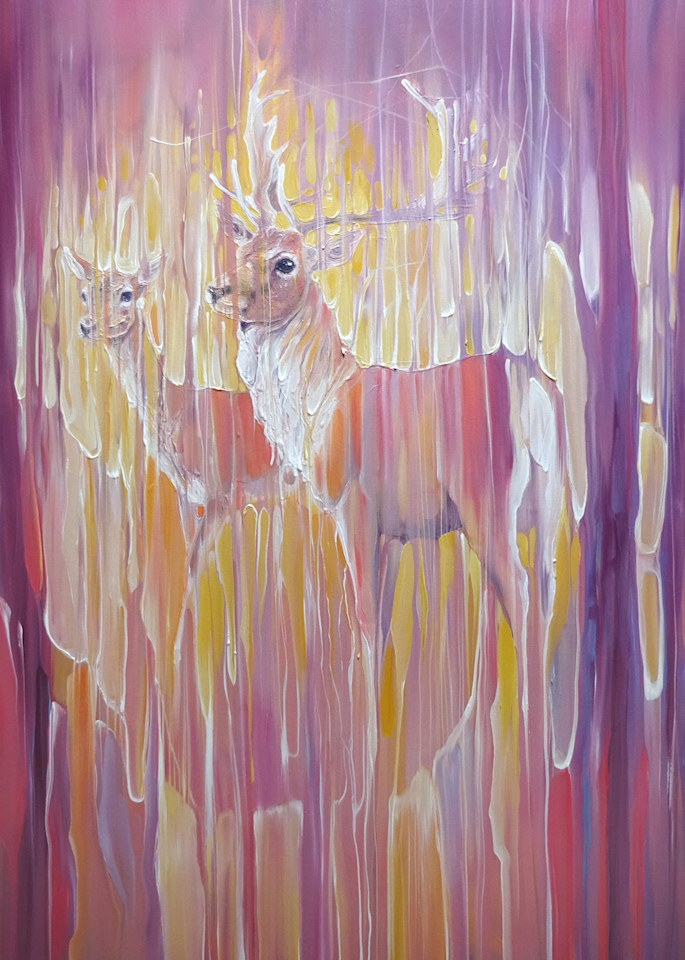 prints on paper or canvas of a stag and a doe in an abstract autumn wood
