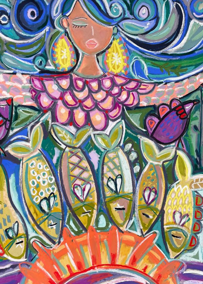 Lady of the lake mixed media artwork christina hankins art