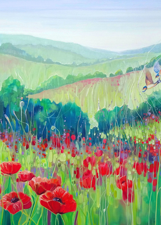 a print of poppies and swallows and green fields of the south downs in sussex in summer