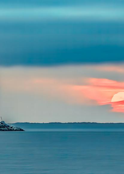 Sun Sets Behind Cape Henlopen Lighthouse