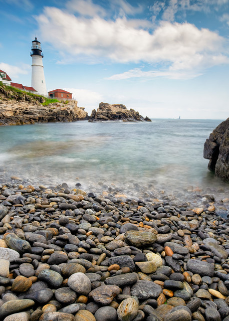 Portland Head Lighthouse from Pebble Beach - Maine fine-art photography prints