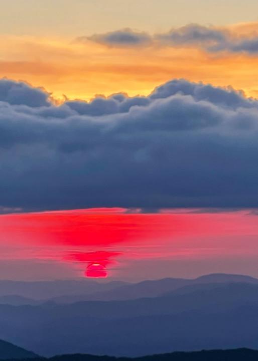 Red Orb Sunset Photography Art | Blue Ridge Zen